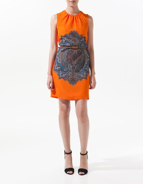 Zara Printed Cashmere Dress in Orange - Lyst