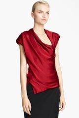 Donna Karan New York Collection Draped Satin Top - Lyst