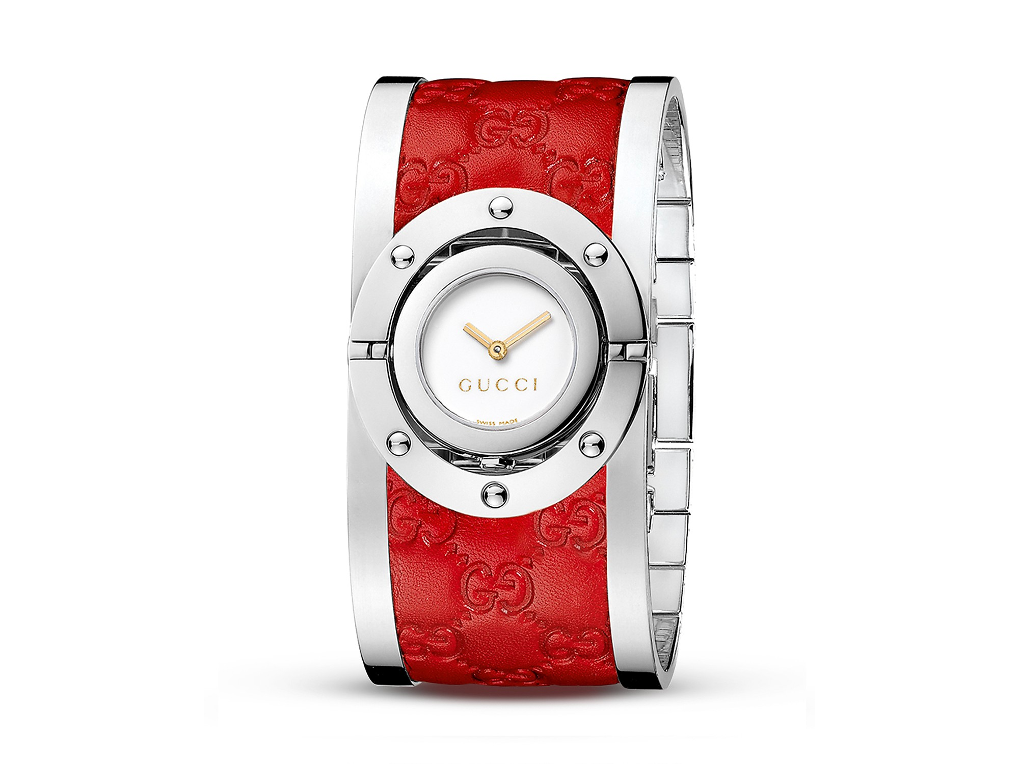 8431536aa83 Lyst - Gucci Twirl Stainless Steel and Red Leather Bangle Watch 33mm ...
