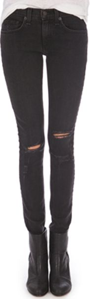 Rag & Bone Skinny Jean with Holes in Black (bone) - Lyst