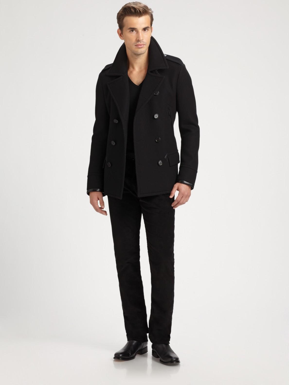 Ralph lauren black label Leathertrimmed Modern Peacoat in Black ...