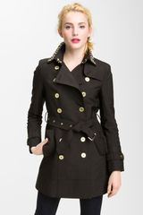 Sam Edelman Studded Collar Trench Coat - Lyst
