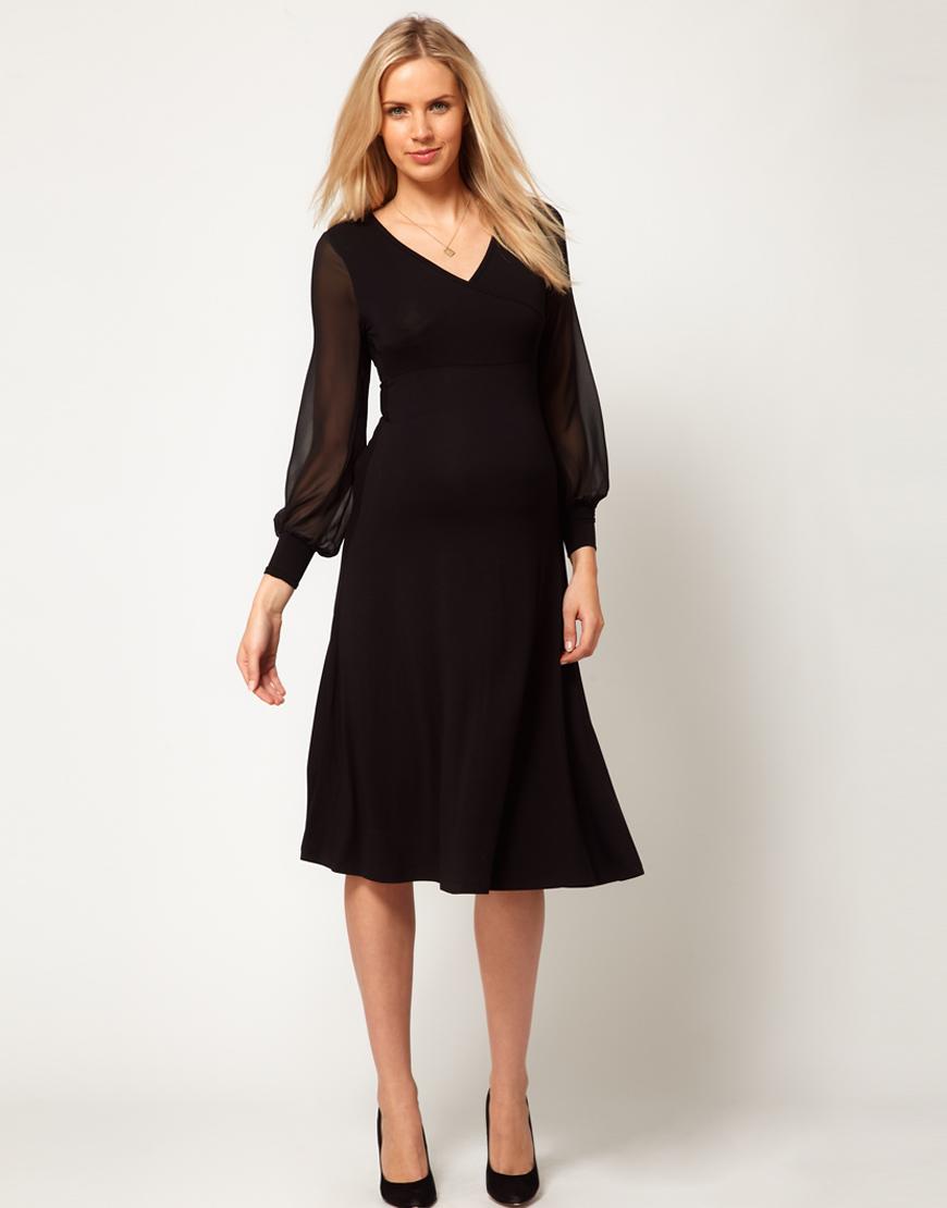 Asos Midi Dress With Chiffon Sleeve In Black Lyst
