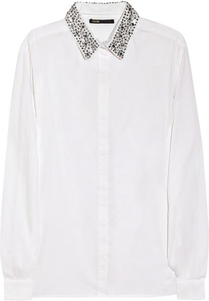 Maje Sibel Crystalembellished Cotton Shirt in White - Lyst