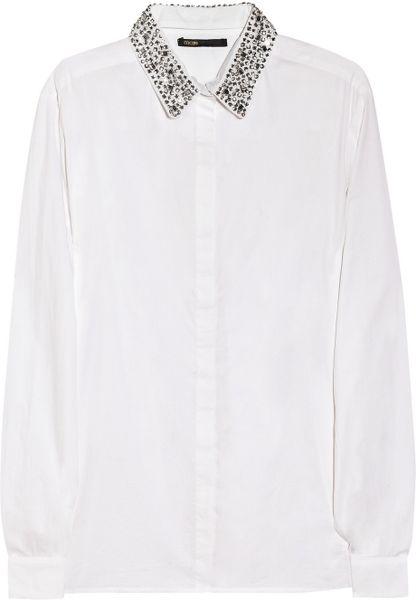 Maje Sibel Crystalembellished Cotton Shirt in White