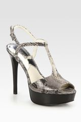Michael by Michael Kors Felicia Snake-skin-embossed Leather T-strap Sandals - Lyst