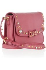 Miu Miu Embellished Leather Shoulder Bag in Pink - Lyst