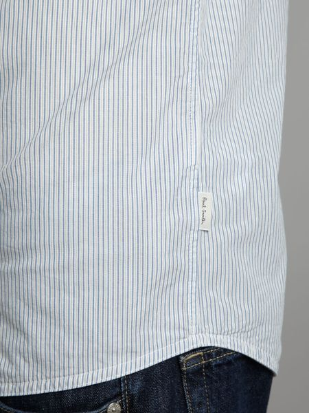 Paul Smith Striped Nehru Collar Shirt In Blue For Men