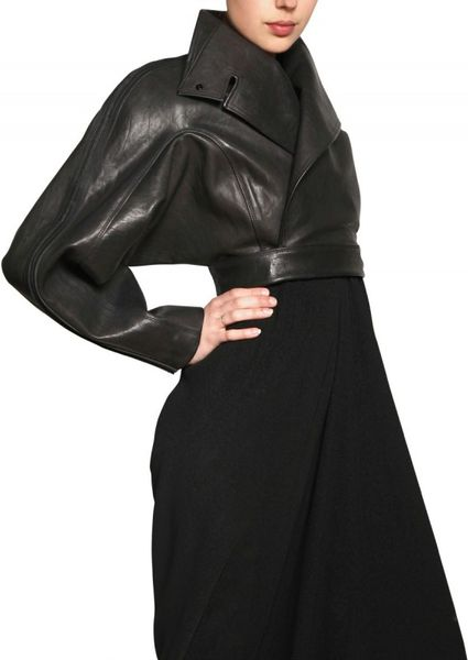 Rick Owens Leather Bolero Jacket in Black