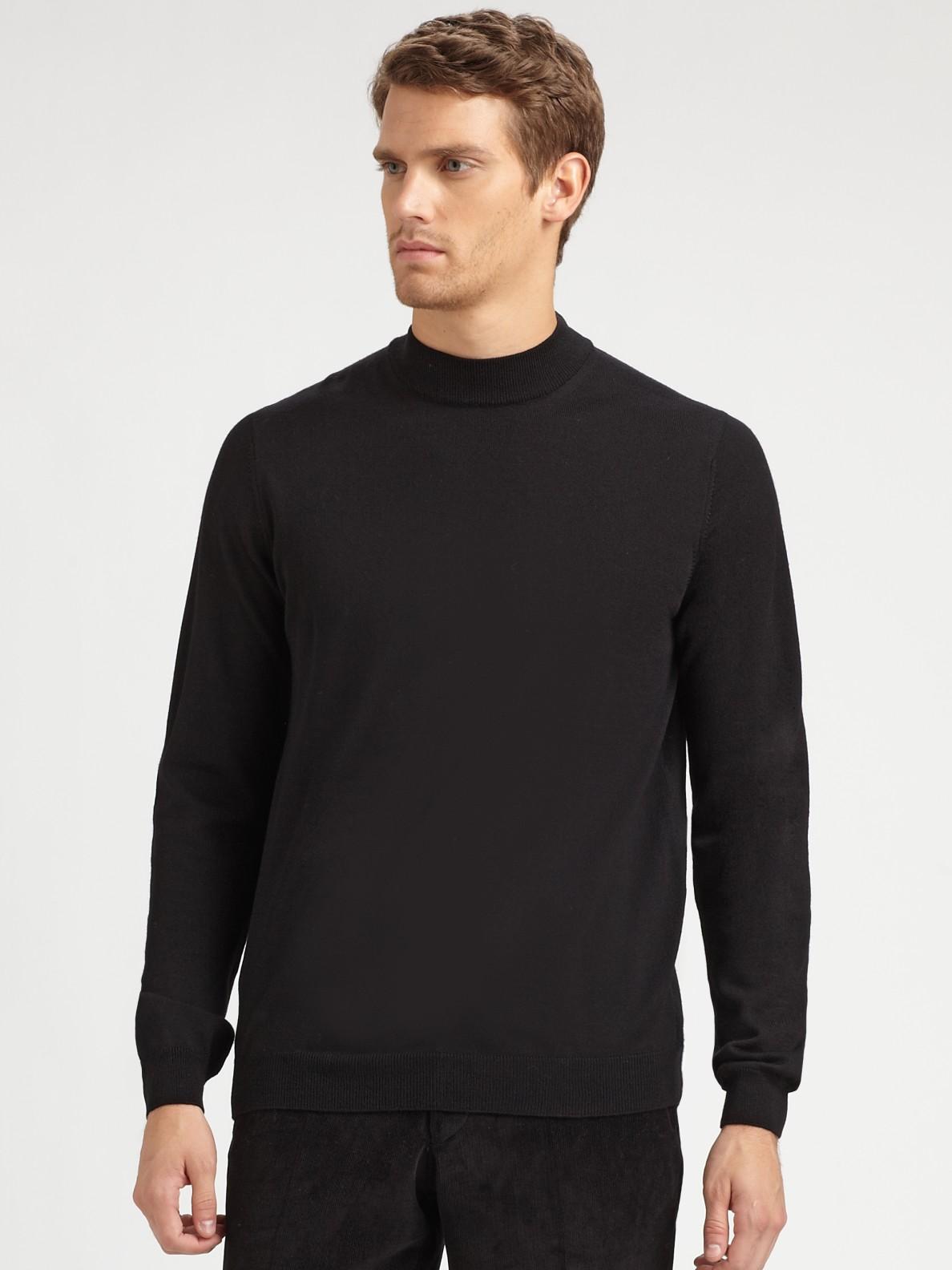 Lyst saks fifth avenue mockneck sweater in black for men for Big and tall mock turtleneck shirt