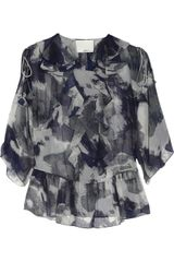 3.1 Phillip Lim Printed Ruffled Silk Georgette Blouse - Lyst