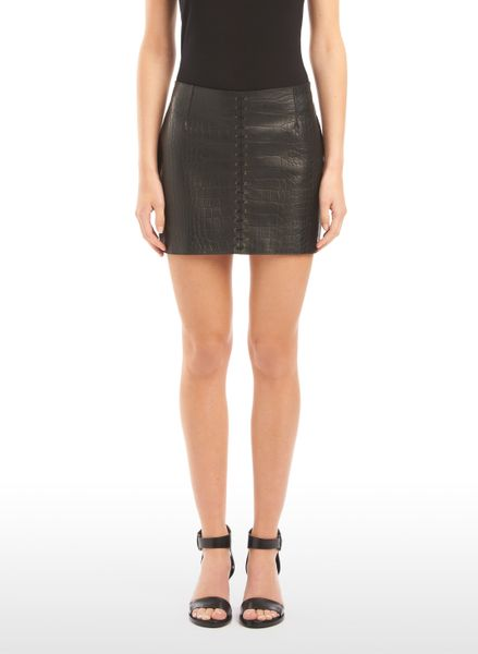 Alexander Wang Miniskirt with Lace Up Detail in Black - Lyst