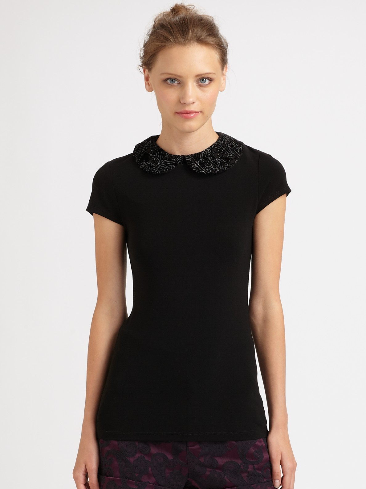 Black Collared Tie Back Tropical Print Bodycon Dress From: Alice + Olivia Olympia Peter Pan Collar Blouse In Black