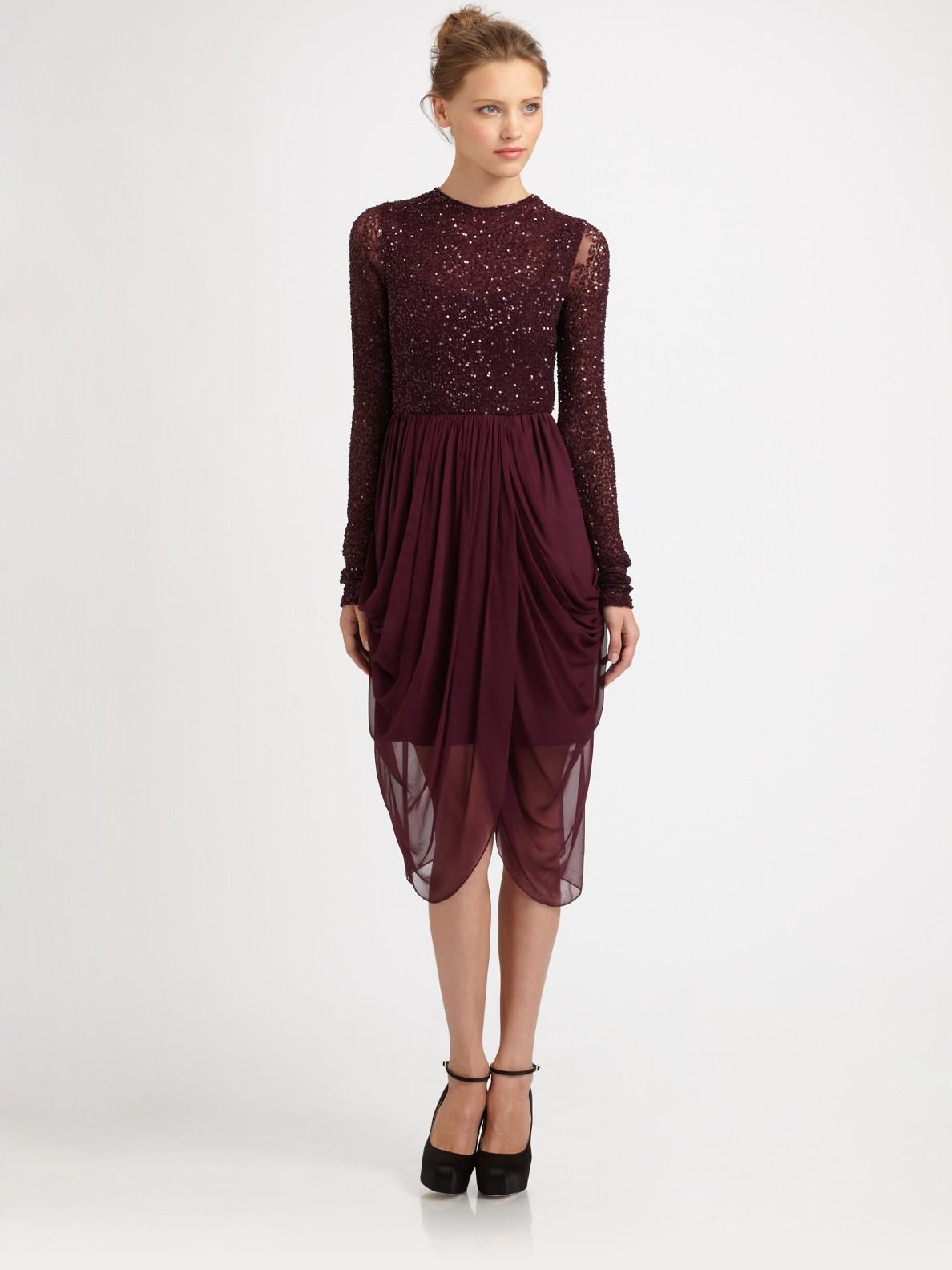 Alice Olivia Vivian Long Sleeve Sequin Dress In Red Lyst