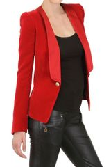 Balmain Silk Satin Lapel Cotton Velvet Jacket - Lyst