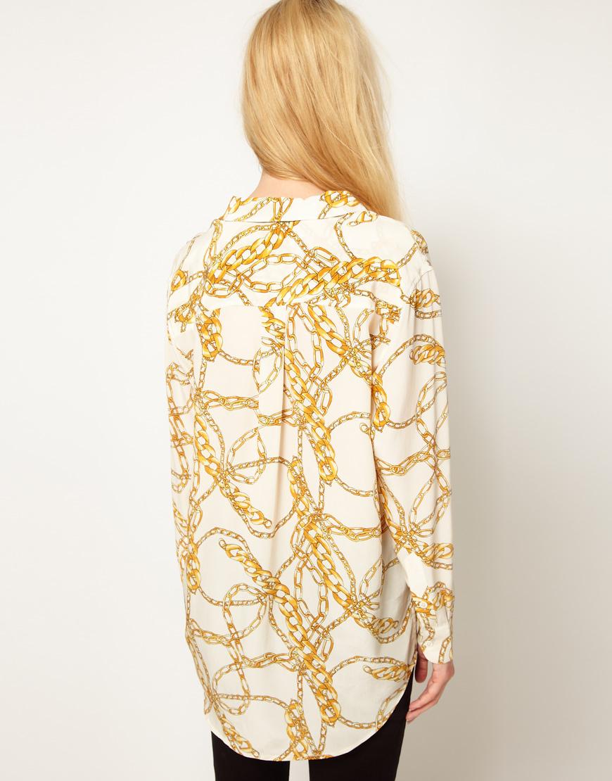 16330ef65405b Lyst - Equipment Daddy Silk Shirt in Chain Print in White