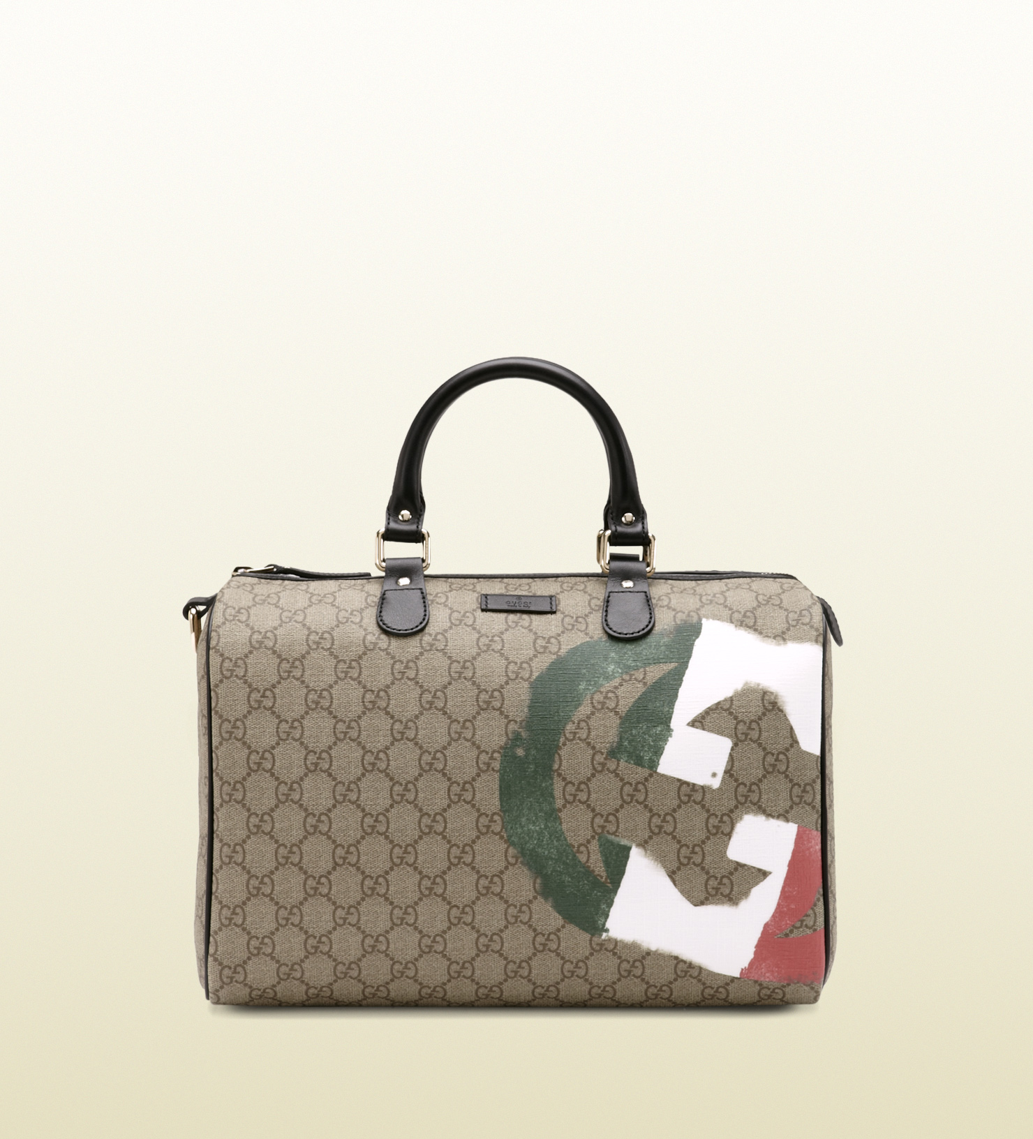 9eb4f64b070b Gucci Italy GG Flag Collection Boston Bag in Natural - Lyst