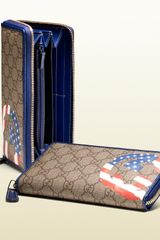 Gucci Usa Gg Flag Collection Zip Around Wallet - Lyst