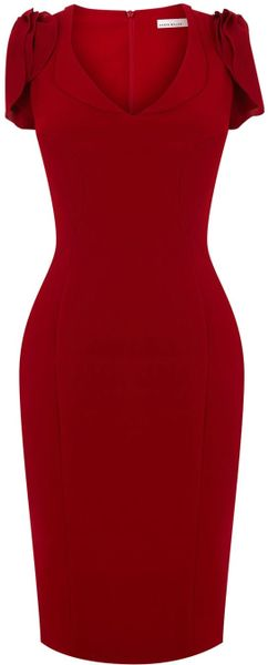 Karen Millen 40s Draped Crepe Dress in Red - Lyst