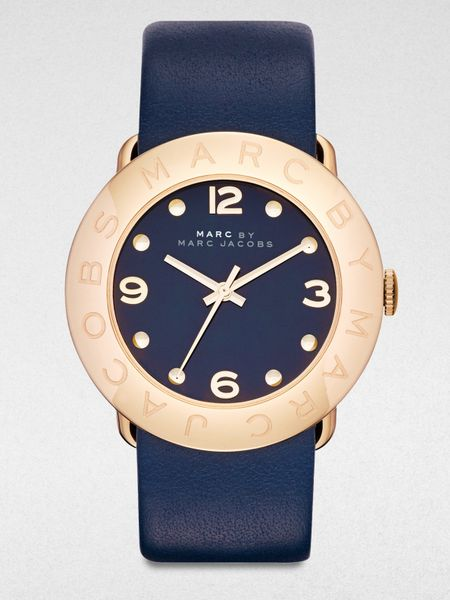 Marc By Marc Jacobs Gold-Tone Stainless Steel Watch in Blue (navy)