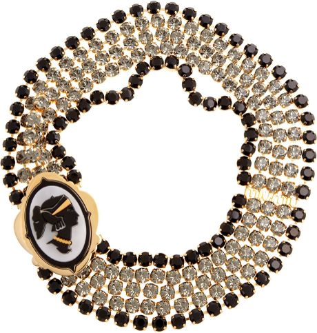 Miu Miu Crystal Cameo Necklace in Gold