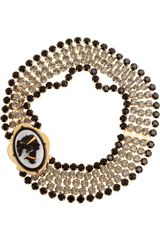 Miu Miu Crystal Cameo Necklace in Gold - Lyst
