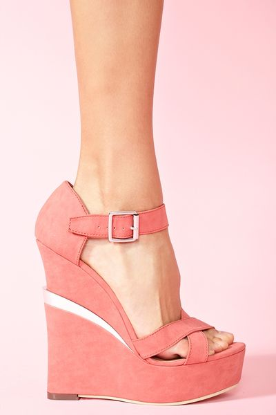 Nasty Gal Electric Platform Wedge in Pink (coral) - Lyst