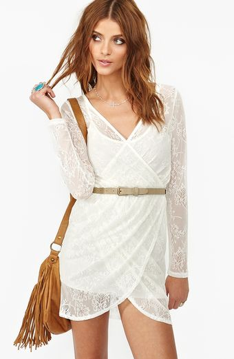 Nasty Gal Lace Wrap Dress - Lyst