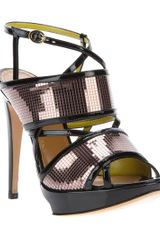 Pollini Open Toe Sandal in Gold (black) - Lyst