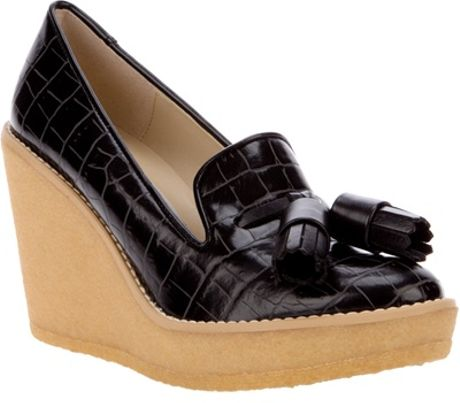 Stella Mccartney Loafer Wedge in Black - Lyst