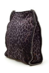 Stella Mccartney Falabella Faux Suede Shoulder Bag in Gray (leopard) - Lyst