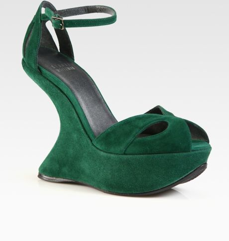 Stuart Weitzman Riseup Suede Ankle Strap Wedge Sandals in Green