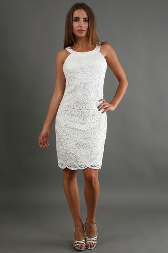 Sue Wong Short Applique Dress in White - Lyst