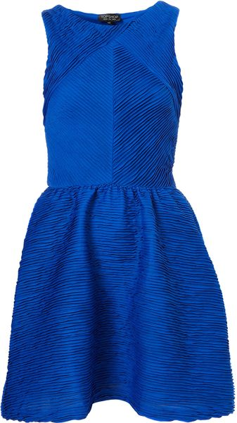 Topshop Texture Pleat Tunic in Blue (cobalt)