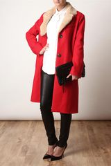 Acne Contrast Collar Coat in Red - Lyst