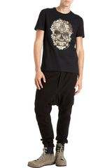 Alexander Mcqueen Floral Skull Tee in Black for Men (floral) - Lyst