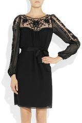 Alice By Temperley Vanessa Embroidered Tulle and Silk Crepe Dress in Black - Lyst