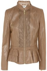 Alice By Temperley Page Lasercut Ruffled Leather Jacket in Brown (caramel) - Lyst