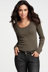 Ann Taylor Petite Striped Long Sleeve Tee - Lyst