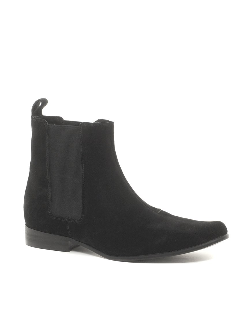 asos asos chelsea boots in suede in black for lyst