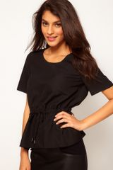 ASOS Collection Asos Top with Drawstring Waist Peplum - Lyst