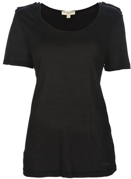 Burberry Bow Shoulder Tshirt in Black - Lyst