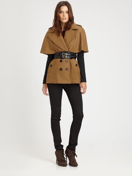 Burberry Wool Kimonosleeve Cape in Brown (black) - Lyst