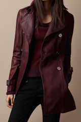 Burberry Brit Short Leather Pintuck Trench Coat - Lyst