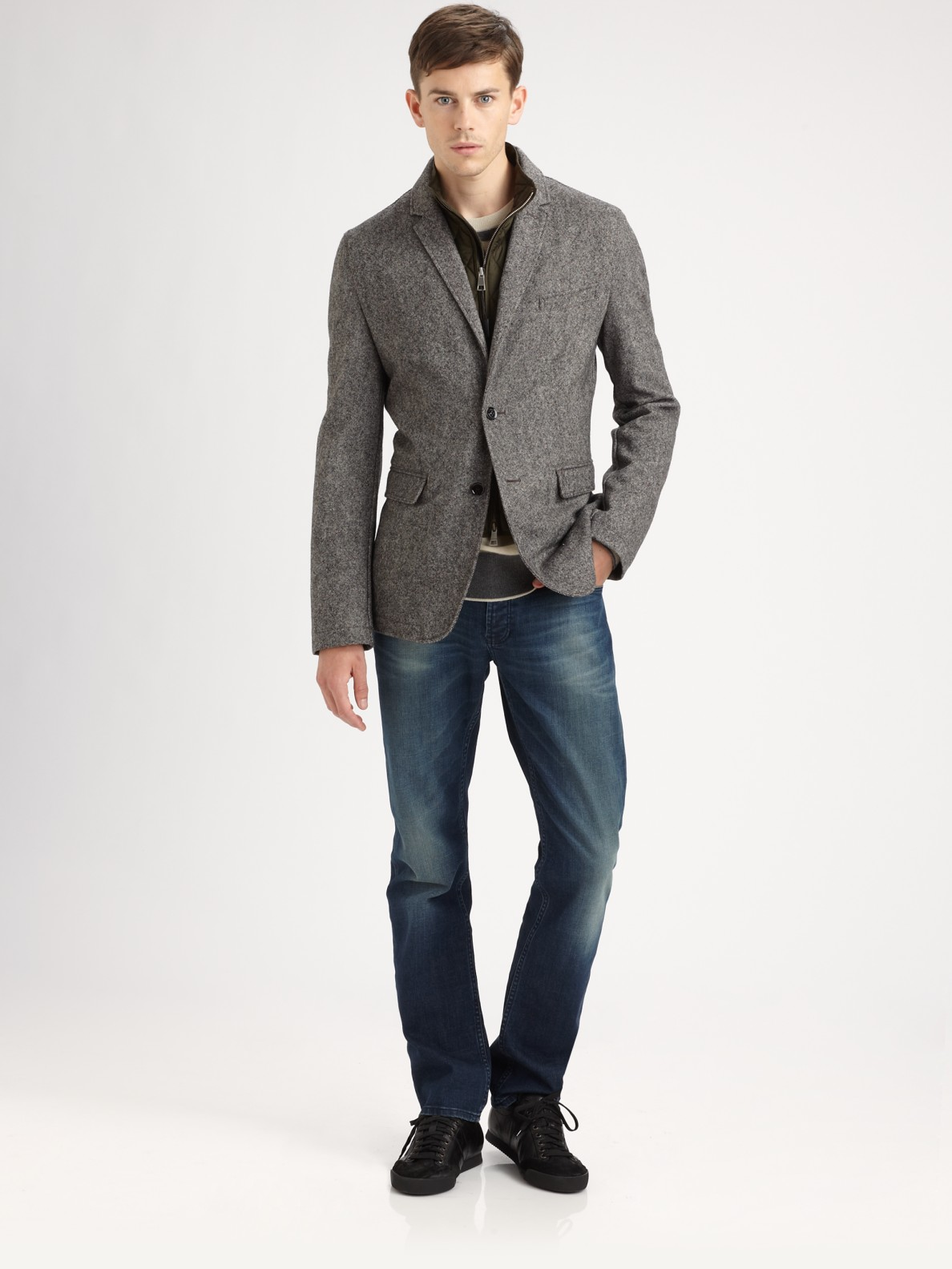 Burberry brit Tweed Sportcoat in Gray for Men | Lyst