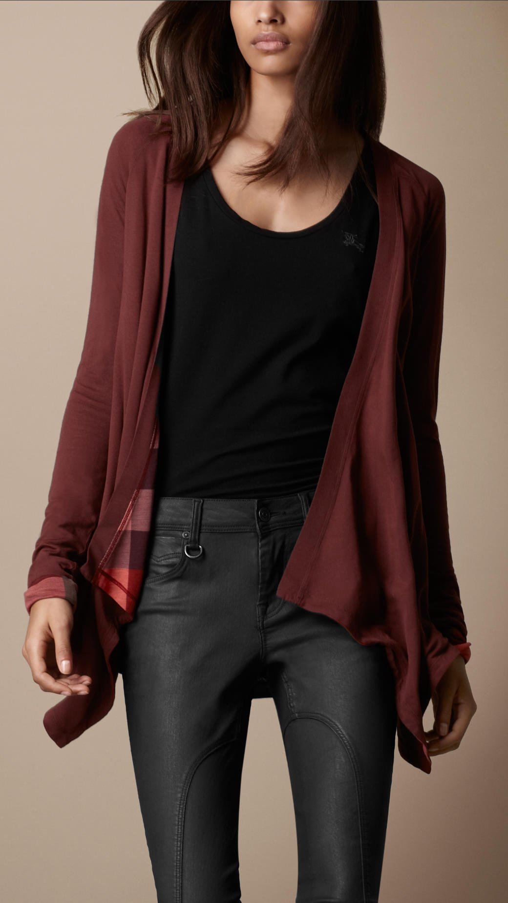 Burberry Reversible Waterfall Cardigan in Brown | Lyst