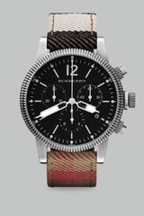 Burberry Check Strap Chronograph Watch - Lyst