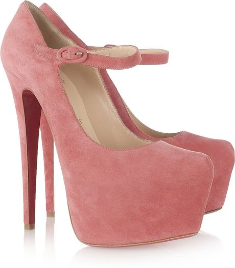 Christian Louboutin Lady Daf 160 Suede Platform Pumps in Pink (rose)