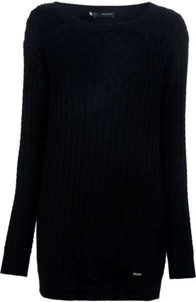 Dsquared2 Long Sweater in Black - Lyst