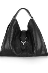 Gucci Stirrup Python Hobo Bag in Black - Lyst